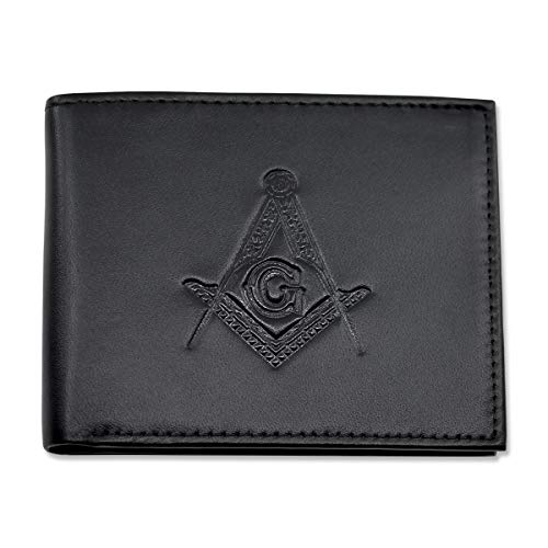 Black Matte Leather Square & Compass Bi-Fold Masonic Wallet with Identity Theft Protection
