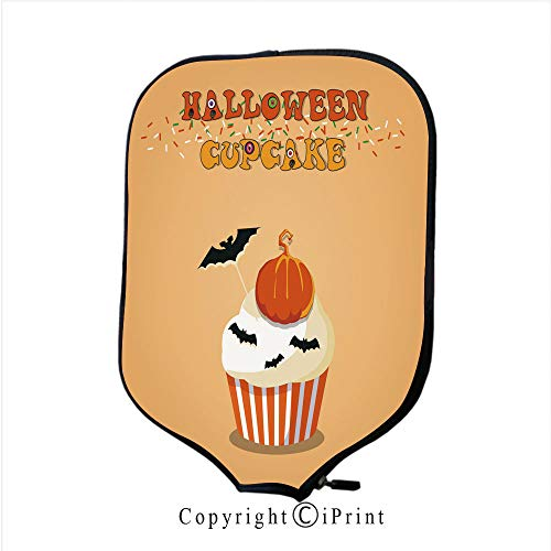 Neoprene Material,Durable Quality Paddle Cover,Cute Happy Halloween Cupcake with Pumpkin Jack and Scar(Size:8.23