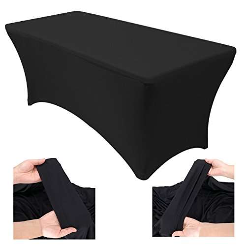 Price comparison product image Eurmax Canopy 6ft Fitted Rectangular Polyester Spandex Tablecloth Stretch Wedding Party Table Cover (Black)