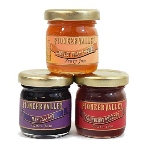 Pioneer Valley Gourmet Mini Jam Sampler Variety 3 Pack 1.5oz Each Marionberry, Harvest Peach Cobbler, Strawberry Rhubarb ()