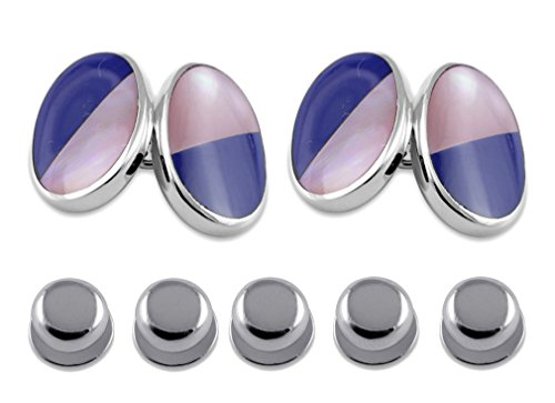- Sterling silver lapis and pink shell double-sided large oval Cufflinks Shirt Dress Studs Gift Set