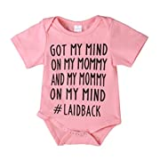 Newborn Baby GOT My Mind ON My Mommy Funny Bodysuits Rompers Outfits Blue(12-18M, Pink)