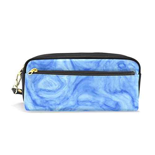 Blue Abstract Marble Leather Pen Pencil Case Bag Students Zi