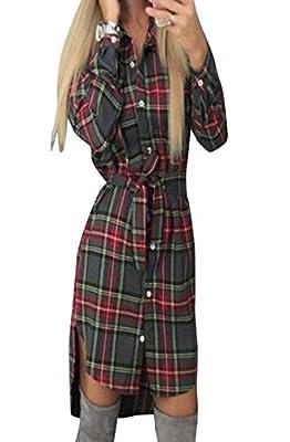 WANSHIYISHE Womens Casual Plaid Button-down Belted Long Sleeve Irregular Shirt Dress