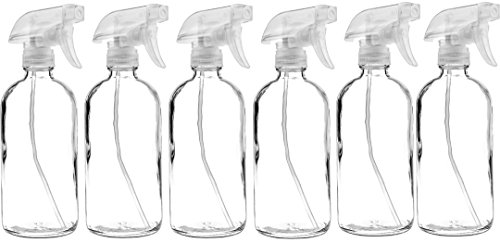 6 Pack of 16 oz Refillable Clear Glass Spray Bottles - Reusable Containers with Adjustable Sprayer: Misting & Stream - for Essential Oils, Cosmetics, Cleaning Products, Plants, Cooking, Aromatherapy (Am Lab Cleaning Products)
