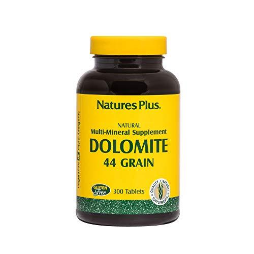 Natures Plus Dolomite 44 Grain - 300 Vegetarian Tablets - Calcium & Magnesium Supplement, Heart Health Support, Promotes Healthy Bones - Gluten Free - 75 Servings