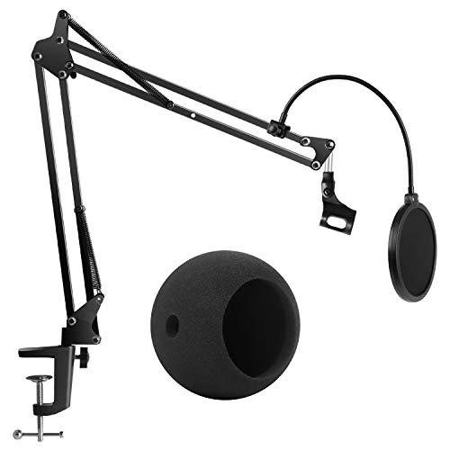 InnoGear Adjustable Microphone Suspension Boom Scissor Arm Stand, Max Load 1.5 KG Compact Mic Stand with Microphone Windscreen and Dual Layered Mic Pop Filter for Blue Snowball iCE and Blue Snowball