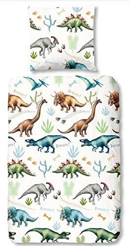 Aminata Kids Kinder Bettwäsche 135x200 Cm Dinosaurier Dino