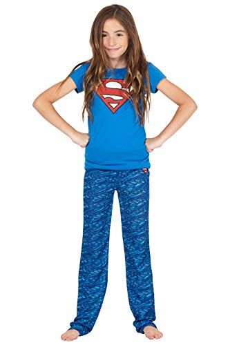 DC Comics Girls 'Superman Supergirl Digital Athletic Sport' Yoga Pajama Set, Blue, -