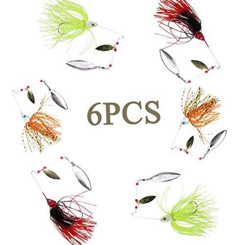 Double Willow - NORTH BAY 6pcs/Pack Fishing Lures Spinnerbaits, Hard Metal Spinner Baits with Double Willow Blades, Freshwater Lures for Bass Trout Perch Walleye Carp 3 Sizes