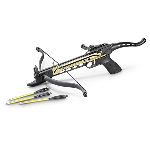 Mini Crossbow 80 lbs Aluminum Body Handheld Self Cocking Pistol Crossbow with 3 Arrows Hunting Crossbows