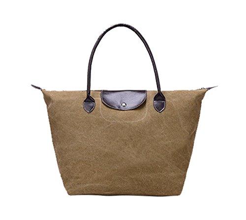 Veenajo Women's Foldable Tote Bag Large Travel Shoulder Handbags Beach Bags (khaki)