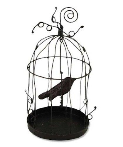 [Bethany Lowe Halloween Bird Cage Crow Ornament Or Place Card Holder TF2314] (Bird Halloween)