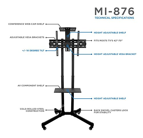 Mount It MI 876 TV Cart Mobile TV. Mount It  MI 876 TV Cart Mobile TV Stand Wheeled Height Adjustable