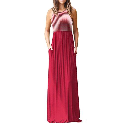 HGWXX7 Women Casual Loose Sliod Pockets Short Sleeve O Neck Long Party Dress (XXL, X-Red)