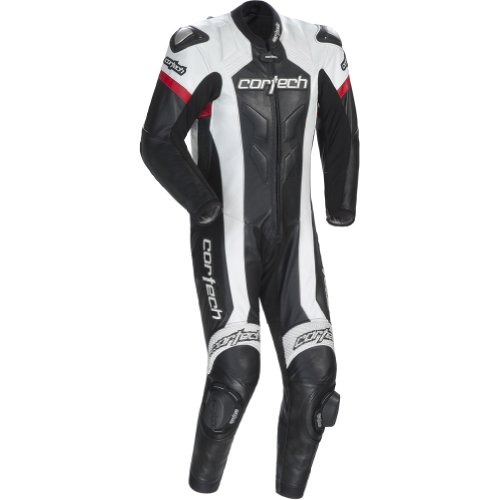 Cortech Adrenaline Men's 1-Piece Leather Sports Bike Racing Motorcycle Race Suit - Black/White / X-Large