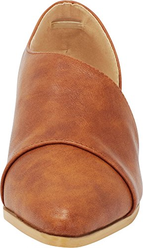 Ankle Open Select Toe Pu Block Pointed Bootie Shank Cognac Cambridge Women's Low Shootie Chunky Heel gaCPxPqw