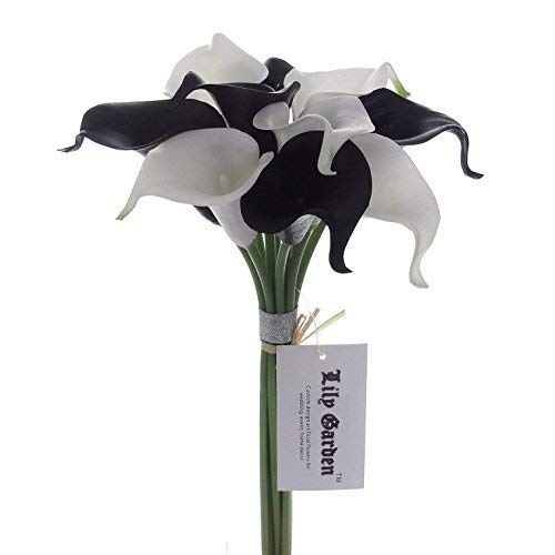 Lily Garden Mini 15 Artificial Calla Lily 10 Stem Flower Bouquets (White and Black)