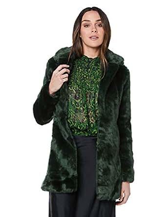 Bardot Women's Fur MIDI Coat, Forest, 10