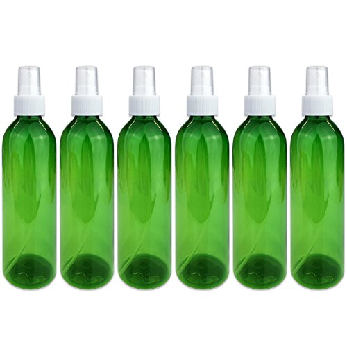 Beauticom 6 Piece 8 Oz Green Transparent Plastic Spray Bottl