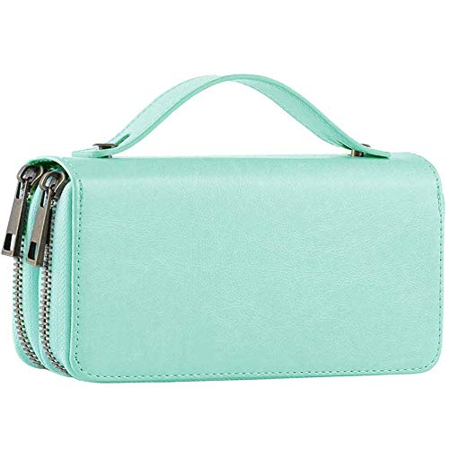 Womens Double Zipper Around Long Clutch Wallet Credit Card Holder Purse with Coin Pocket for Cash, Coin, and 5.5 inch Cellphone (Sky Blue with Handle) ()