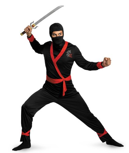 Black Ninja Costume For Men (Disguise Men's Ninja Master Costume, Black/Red, X-Large)