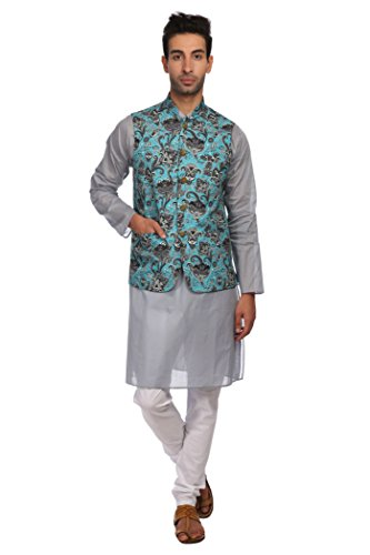 WINTAGE Men's Imported Rayon Printed Nehru Jacket Waistcoat and 100% Cotton Sea Blue Kurta Pajama Indian Ethnic Set : Small by WINTAGE