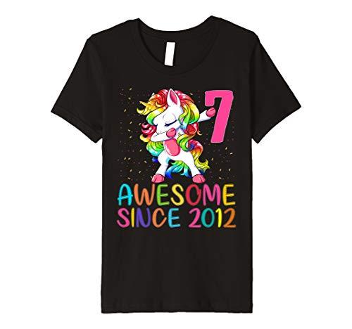 Kids 7 Years Old 7th Birthday Unicorn Dabbing Shirt Girl Kids   Premium T-Shirt
