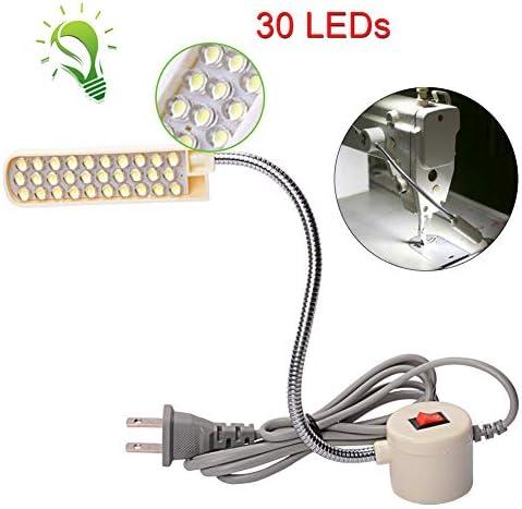 HONG111 LED Sewing Machine Light 30LEDs – 2.5 Watt , Flexible Work Light Gooseneck Lamp with Magnetic Mounting Base for Home