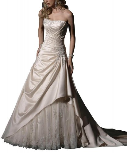 Rock Brautkleider GEORGE Satin Elegante BRIDE Hochzeitskleider Weiß Brautkleid Zug mit Spitze Kapelle zz8Sw
