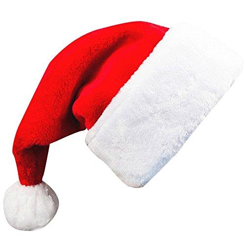 (Adults' Christmas Santa Claus Hat,Plush Xmas Cap,Velvet Headwear 18.5X12 Inch 1 Pack)