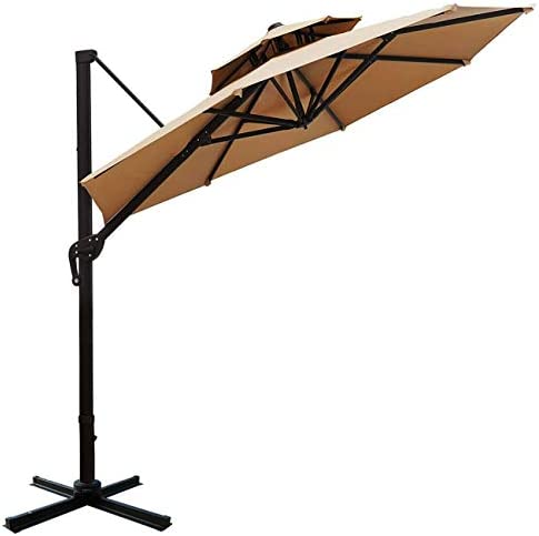 Sunnyglade 11ft Double Top Patio Offset Hanging Umbrella Round Deluxe Outdoor Cantilever Umbrella