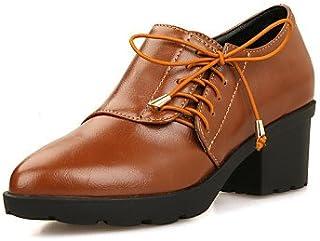 NJX/ Chaussures Femme - Extérieure / Bureau & Travail / Habillé / Décontracté - Noir / Marron - Gros Talon - Confort / Bout Pointu - Richelieu black-us5 / eu35 / uk3 / cn34 MKJMK