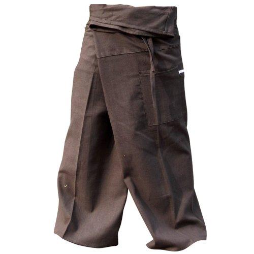 (hugde Thai Fisherman Pants Yoga Trousers Free Size Plus Size Cotton Taupe)