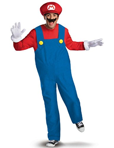 (Disguise Super Mario Deluxe Mens Adult Costume, Red/Blue,)