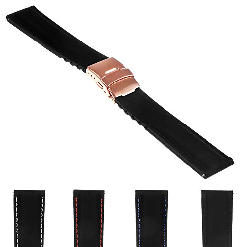 StrapsCo Rubber Watch Band with Stitching & Rose Gold Deployant Clasp - Quick Release Strap - 18mm 20mm 22mm 24mm