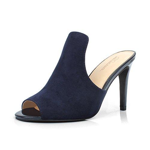 DUNION Women's Brody Comfortable Peep Toe Stiletto High Heel Dress Slip on Mules,Navy,9 B(M) US ()