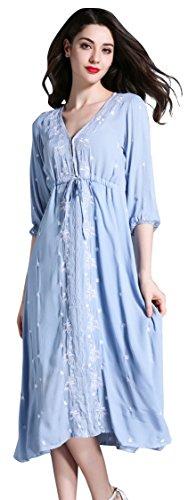 Shineflow - Vestido - trapecio - manga 3/4 - para mujer Azul