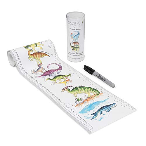 Talltape - Portable, Roll-up Height Chart Plus 1 Sharpie Marker Pen to Measure Children from Birth, Choice of 10 Designs, a Memento for Life (Large Tall Tape, Dinosaurs) ()