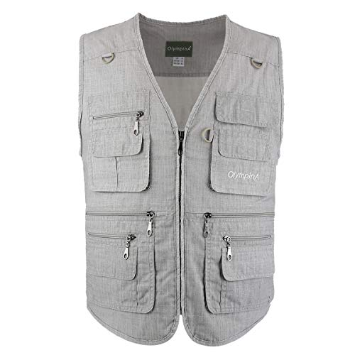 LUSI MADAM Men s Linen Vest Outdoors Lightweight Travel Casual Breathable Sleeveless Jacket with Multi Pockets