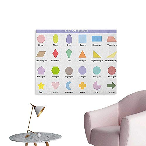 Anzhutwelve Educational Wall Picture Decoration Classical Basic 2D Shapes Colorful Design Cartoon Style Children Learning Study The Office Poster Multicolor W36 xL24 (List Of 2d Shapes In The Home)