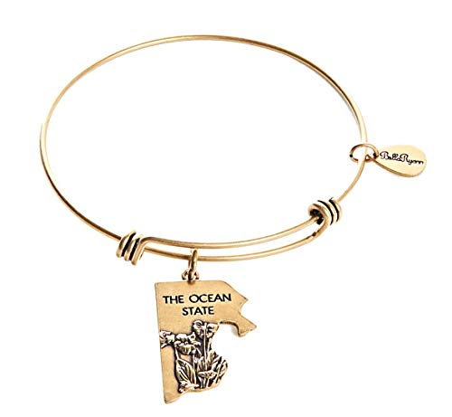 BellaRyann State Expandable Bangle Charm Bracelet in Vintage Gold (Rhode Island)
