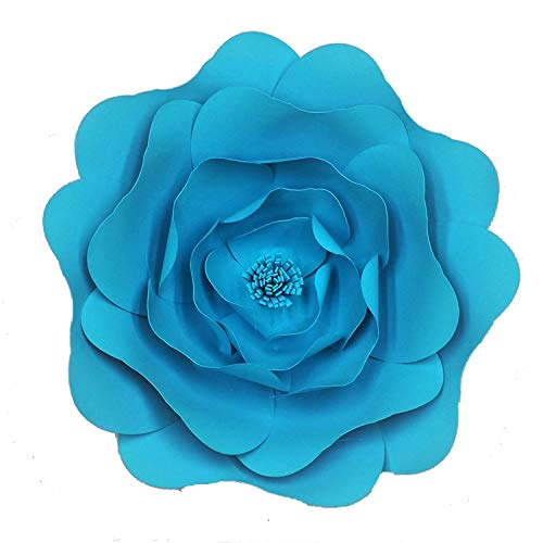 Wild-World DECOR DIY Large Rose Giant Paper Flowers for Wedding Backdrops Decorations Paper Crafts Baby Nursery Birthday Video Tutorials,Blue,50CM ()