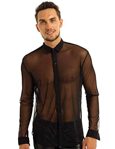 iEFiEL Men's Sexy See Through Mesh Long Sleeve Dress Shirt Top Clubwear Black Medium (Best See Through Shirts)