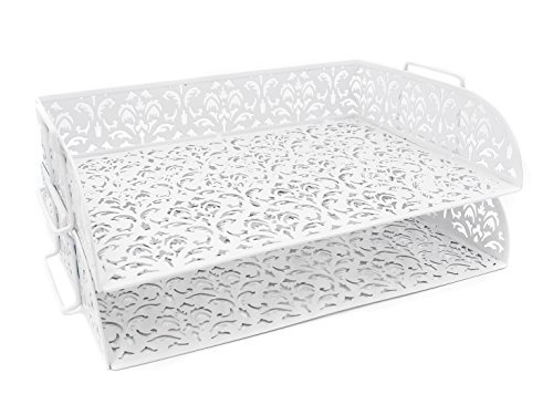 EasyPAG Carved Hollow Flower Pattern 2 Tier Desk Letter Tray ,White
