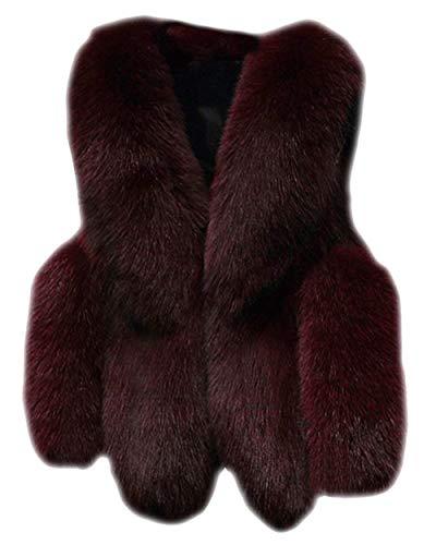 Tasche Giacca Moda Invernali Donna Giacche Pelliccia Con Outerwear Confortevole Cappotto Manica Glamorous Burgunderrot Ecopelliccia Eleganti Termico Calda Lunga Grazioso Semplice Di Autunno Uqxtdrtc4S