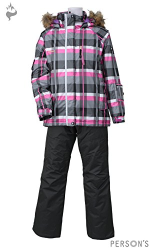 PERSONS(パーソンズ)大人用保温機能付きレディーススキーウェア上下セット☆BLKPSL-6531ブラック×チャコールL
