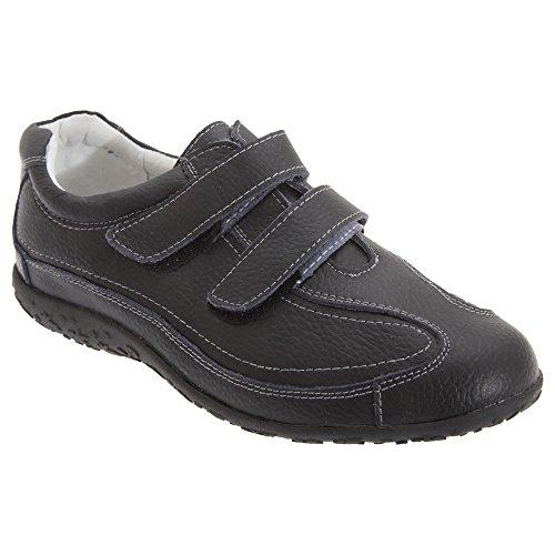 Boulevard - Zapatos deportivos de ancho especial con cierre adhesivo para mujer Negro