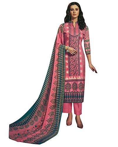 Ladyline Soft Lawn Cotton Ethnic Printed Salwar Kameez Womens Ready to Wear Indian Dress Salwar Suit (Size_54/ Pink)