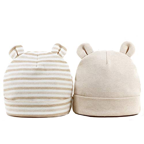 Bonvince Newborn Hats for Boys Girls Soft 100% Organic Cotton Baby Bear Beanie Hats Infant Knit Caps 0-6 Months (2-Pack) Apricot